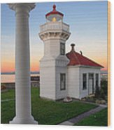 Dusk At Mukilteo Lighhouse Wood Print