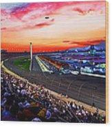 Dusk At The Racetrack Wood Print