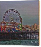 Dusk At The Santa Monica Pier Wood Print