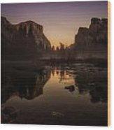 Dusk At Valley View Yosemite National Park Wood Print