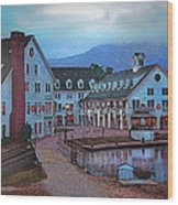 Dusk Before Snow At Town Square Wood Print