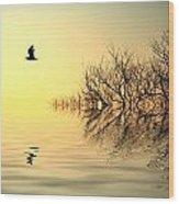 Dusk Flight Wood Print by Sharon Lisa Clarke