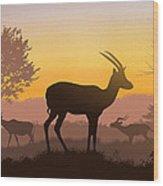 Dusk In Kenya Wood Print