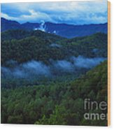 Dusk In The Smoky Mountains   Wood Print