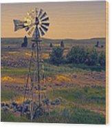 Dusk On The Prairie Wood Print