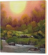 Dusk On The Riverbank Wood Print