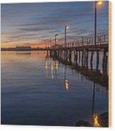 Dusk Settles On Del Norte Pier Wood Print