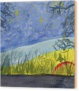 Dusky Scene Of Stars And Beans Wood Print