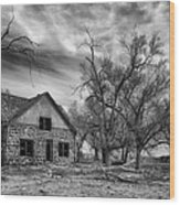 Dust Bowl Era Farm House Wood Print