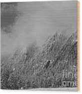 Dusted Flatirons Low Clouds Boulder Colorado Bw Wood Print
