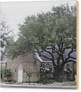 Dusting Of Snow At Church On Pennsylvania St Fort Worth Tx Wood Print