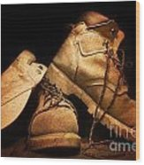 Dusty Work Boots Wood Print