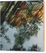 Dutch Canal Reflection Wood Print