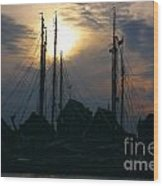 Dutch Harbour By Night Wood Print