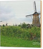 Dutch Landscape With Windmills Wood Print by Carol Groenen