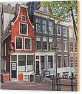Dutch Style Traditional Houses In Amsterdam Wood Print