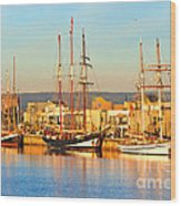 Dutch Tall Ships Docked Wood Print by Bill  Robinson