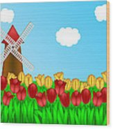Dutch Windmill In Tulips Field Farm Illustration Wood Print