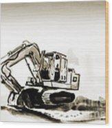 Duty Dozer In Sepia Wood Print