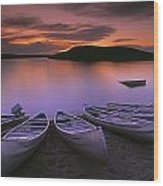 D.wiggett Canoes On Shore, Pink And Wood Print by First Light