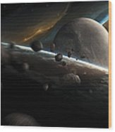Dynamic Space Scene With Incoming Wood Print
