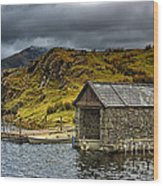 Dywarchen Boathouse Stormy Wood Print