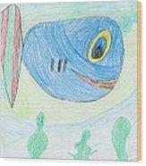 E' S Blue Fish Wood Print