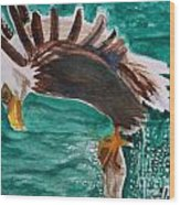 Eagle Fishing Wood Print