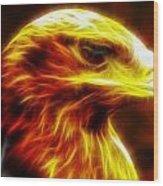 Eagle Glowing Fractal Wood Print