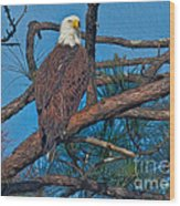 Eagle In Oil Wood Print