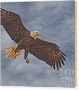 Eagle In The Sky Wood Print