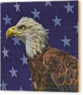 Eagle In The Starz Wood Print