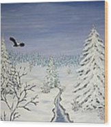 Eagle On Winter Lanscape Wood Print