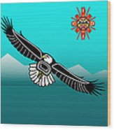 Eagle Over Olympics Wood Print