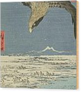 Eagle Over One Hundred Thousand Acre Plain At Susaki Wood Print