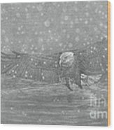Eagle Over Water Wood Print