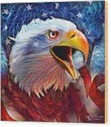 Eagle Red White Blue 2 Wood Print