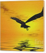 Eagle Sunset Wood Print