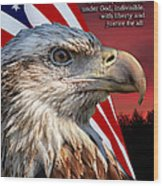 Eagle With Pledge Allegiance Wood Print