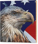 Eagle With Us American Flag Wood Print