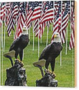Eagles And Flags On Memorial Day Wood Print