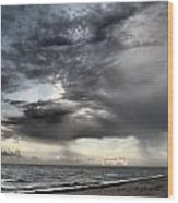 Early Am Storm At The Beach Wood Print