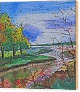 Early Autumn Landscape Wood Print