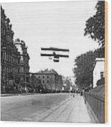 Early Biplane Flight Wood Print
