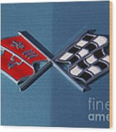 Early C3 Corvette Emblem Blue Wood Print