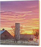 Early Country Morning Sunrise Wood Print