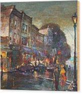 Early Evening In Main Street Nyack Wood Print
