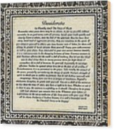 Early Gothic Style Desiderata Wood Print