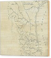 Early Hand-drawn Southern Texas Map C. 1795 Wood Print