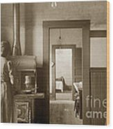 Early Kitchen With A Wood Kitchen Stove Circa 1906 Wood Print